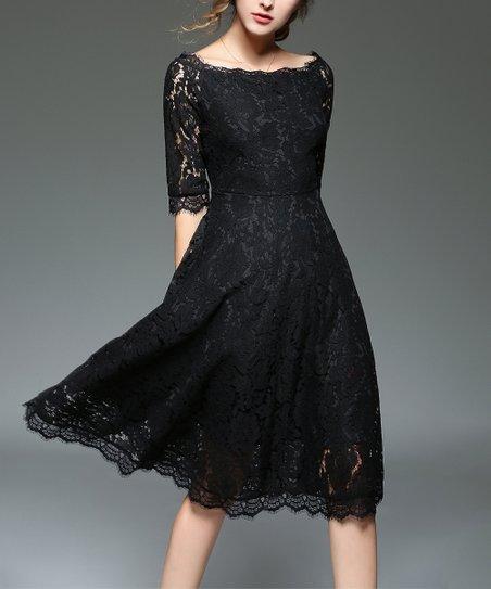 369e6dd335 Coeur de Vague Black Lace Fit   Flare Dress - Women