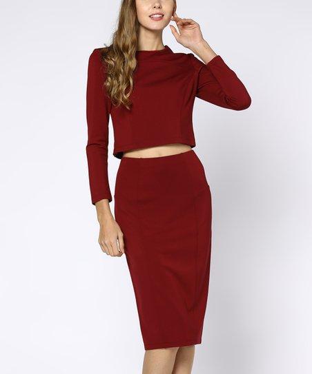 0ec3c213b Coeur de Vague Wine Red Crop Top & Pencil Skirt - Women   Zulily