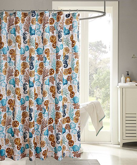 Brown Blue Sea Life Shower Curtain