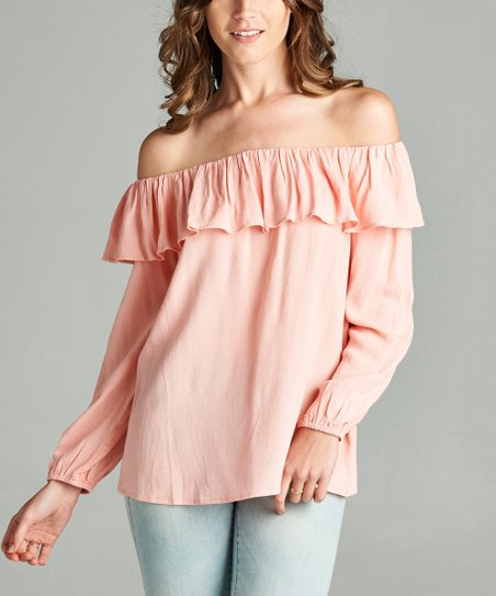 401c0b004287d love this product Pink Ruffle Off-Shoulder Top