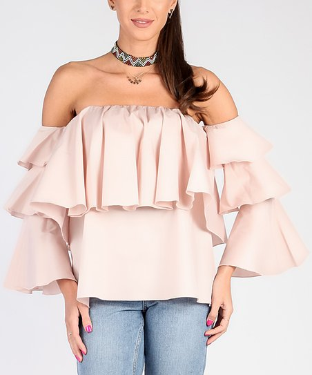 d8ee2ffd9f19a Glamour Light Pink Ruffle Off-Shoulder Top