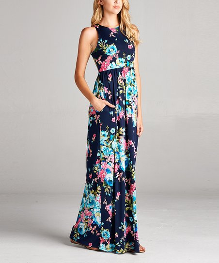 love this product Navy   Teal Floral Racerback Maxi Dress - Women 5cf80f6b11