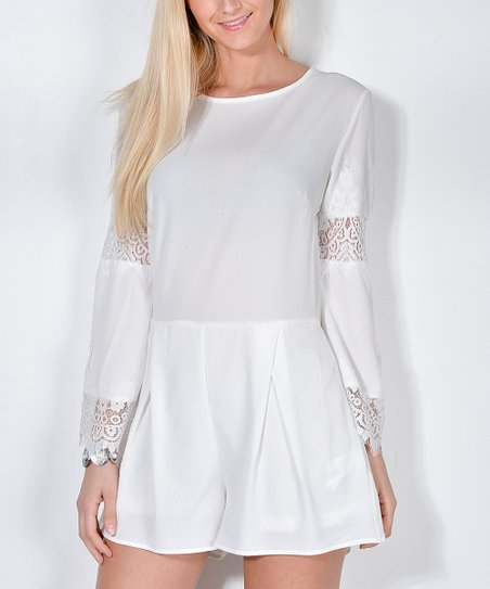 9cbc1a93262 love this product White Sheer Lace-Accent Romper - Women