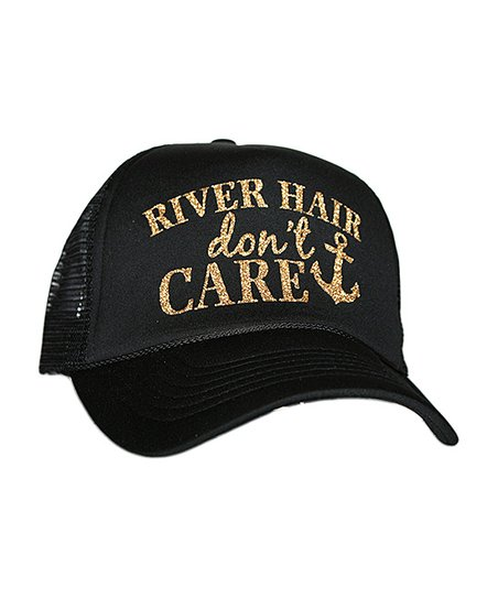 f74b8693 love this product Black & Gold 'River Hair Don't Care' Glitter Trucker Hat
