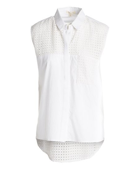 6aa349e65c170e Jennifer   Grace White Eyelet Sleeveless Top - Women