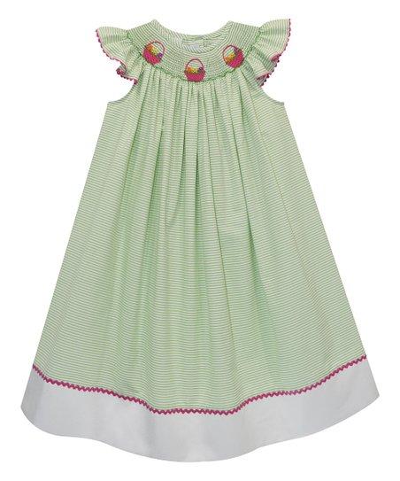 36d529443f31 Vive La Fête Green Easter Eggs Smocked Bishop Dress   Zulily
