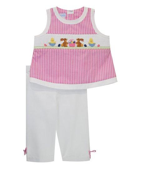 d00916945c09 love this product Pink Easter Smocked Tank & White Capri Pants - Infant,  Toddler & Girls