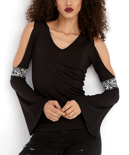 5718b5cc52b3b love this product Black Sequin-Embellished Bell-Sleeve Top - Women