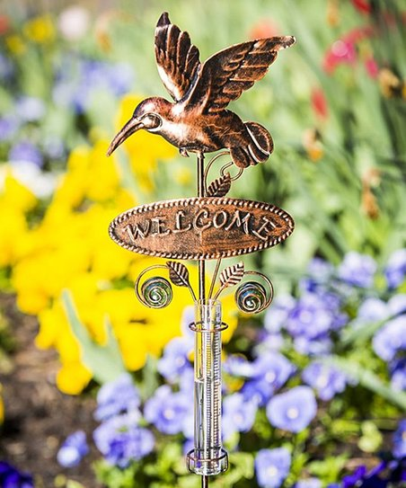 Love This Product Hummingbird Welcome Rain Gauge Garden Stake