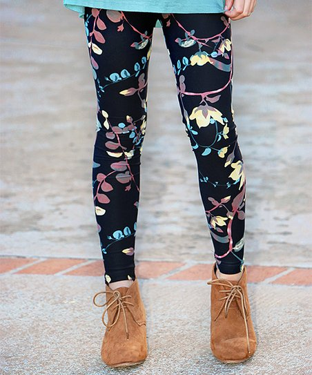 6c1a40dbb660a0 Mayah Kay Fashion Boutique Sage & Black Floral Leggings - Toddler ...