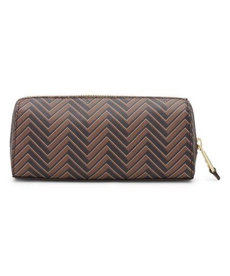 be5e68741392 Lauren Ralph Lauren Brown   Tan Chevron Boswell Leather Cosmetic ...
