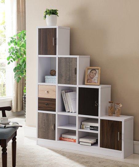 White Multi Storage Staircase Bookshelf