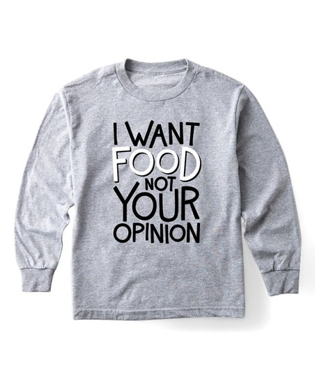 a7fde5edd1d4c love this product Athletic Heather  Food Not Your Opinion  Long-Sleeve Tee  - Kids