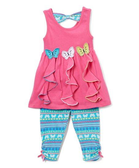 6c81ddbc78fb Nannette Girl Hot Pink Butterflies Tunic & Leggings - Toddler | Zulily