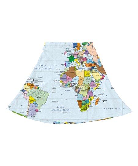 White Tan World Map A Line Skirt Toddler Girls Zulily