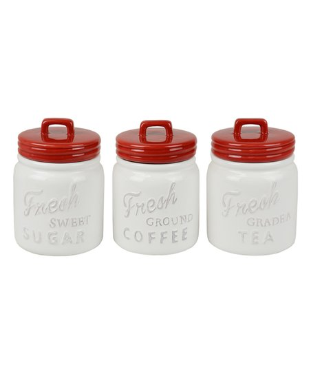 Superieur Love This Product Red U0026 White Kitchen Canister   Set Of Three