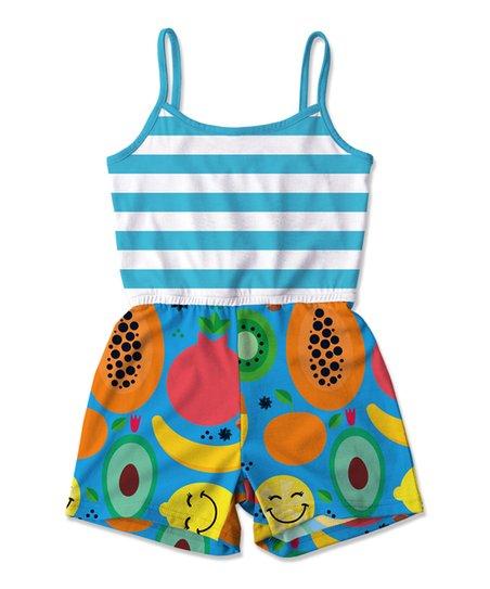 bb7bf1860b2e Sunshine Swing Blue Stripe Fruit Romper - Toddler   Girls
