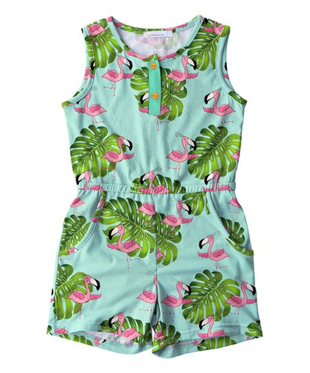 306c44d69 Sunshine Swing Turquoise & Pink Flamingo Romper - Toddler & Girls ...