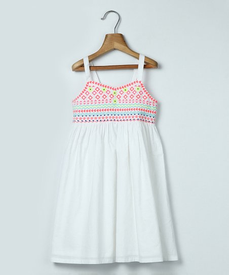 e2b9759b50fd love this product White   Pink Embroidered A-Line Dress - Toddler   Girls