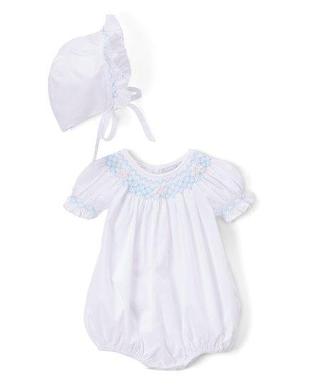 24b52c5e5550 Fantaisie Bebes White   Blue Smocked Bubble Romper   Bonnet - Infant ...