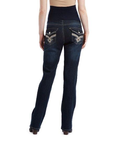 abc1060bde230 love this product Bella Vida Dark Blue Bling Maternity Bootcut Jeans - Plus