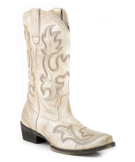 the latest buying now big discount Roper Off-White Metallic Embroidered Leather Cowboy Boot - Women ...