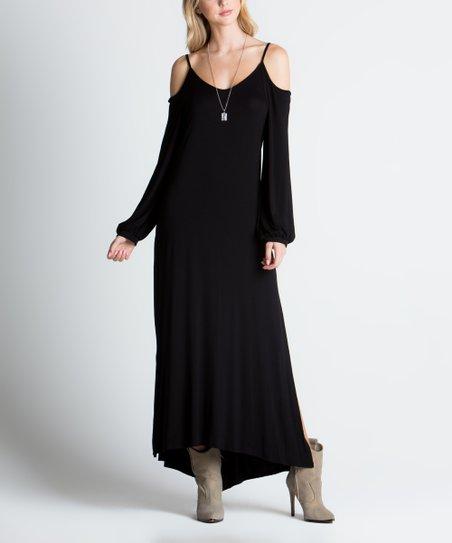 a2a7567e25e39 MIRACLE BERRY Black Cold Shoulder Maxi Dress