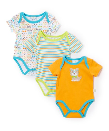 Duck Duck Goose Orange Blue Glasses Dog Bodysuit Set Infant Zulily