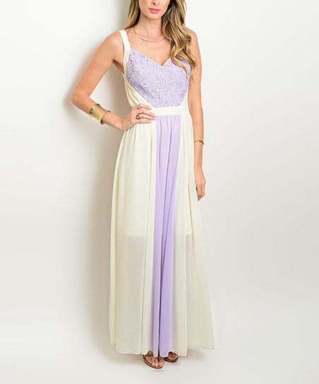 8554d51522c love this product Cream   Lilac Lace-Front Maxi Dress - Women