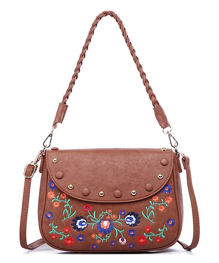 d79f0da84433 Pink Haley Brown Floral Embroidered Catherine Crossbody Bag