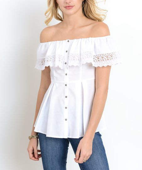 White Ruffle Neck Peplum Top   Women by Doe &Amp; Rae