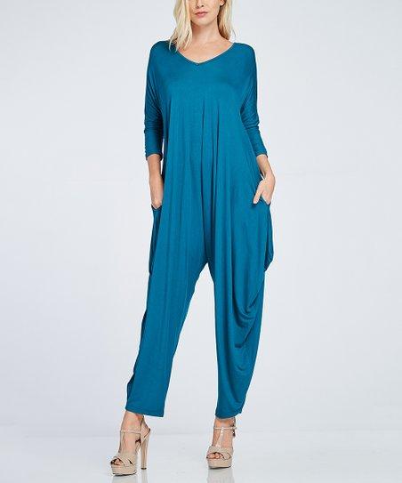 d3b6ea50cb53 love this product Coral Blue Open-Back Harem Jumpsuit - Plus Too