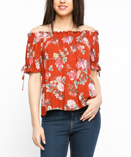 2139cd953a3 Timing Brick Floral Tie-Sleeve Off-Shoulder Top | Zulily
