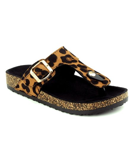 d7602a3a86cb Anna Shoes Leopard Print Glory Sandal - Girls | Zulily
