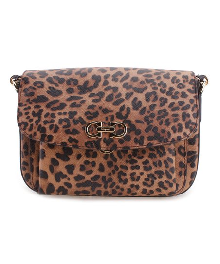 8265808a7ece Salvatore Ferragamo Cacao Leopard Leather Crossbody Bag