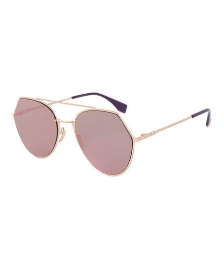 8b70b3b07503 Fendi Goldtone & Red Angular Aviator Sunglasses | Zulily