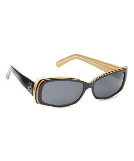 352994c0acb7 Paws N Claws Black   Goldtone Square Sunglasses With Swarovski ...