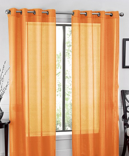 Love This Product Orange Sheer Voile Curtain Panel Set Of Two