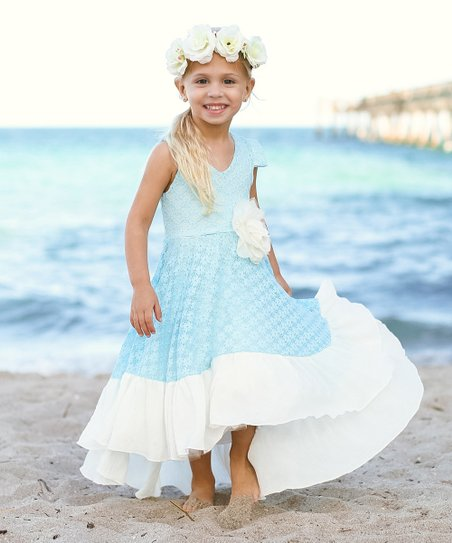 6a3647a9ded68 Mia Belle Baby Sky Blue Lace Vivienne Dress - Toddler & Girls | Zulily