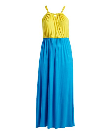 23bef2840cb1 love this product Yellow & Turquoise Color Block Tie-Back Maxi Dress -  Women & Plus