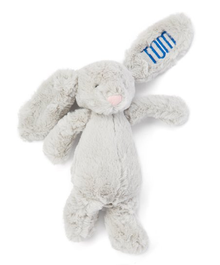The Sassy Seamstress Gray Personalized Bunny Plush Toy Zulily