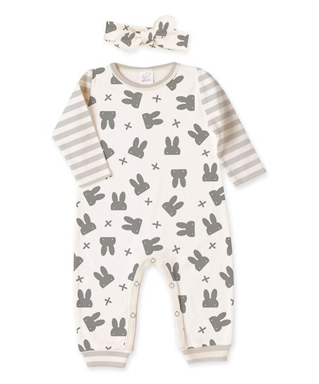 3c52520bbd3 love this product Gray Funny Bunny   Stripe Playsuit   Headband - Infant