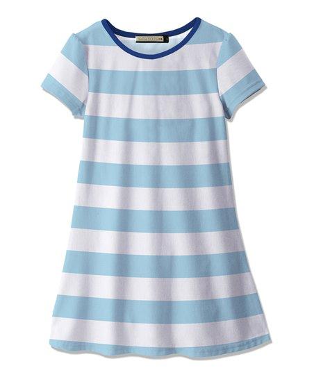 a27b7a68fb42 Sunshine Swing Light Blue   White Stripe A-Line Dress - Toddler ...