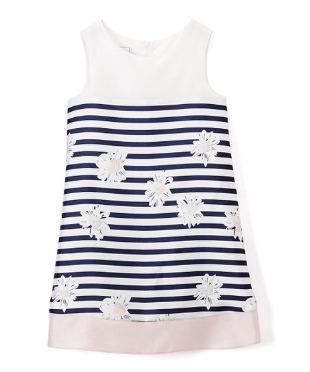 32df2865c32a love this product Pink   Navy Floral Stripe A-Line Dress - Girls