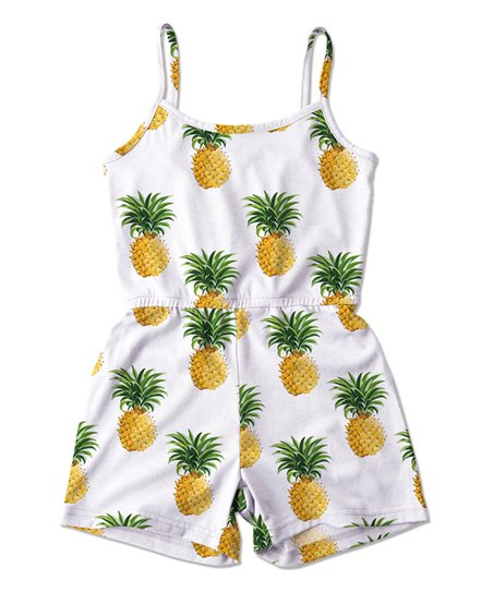 27a15bec2 Sunshine Swing White & Yellow Pineapple Romper - Toddler & Girls ...
