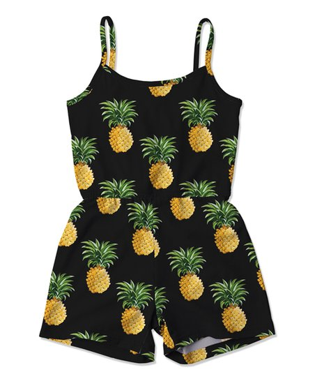9adac6f67ddd Sunshine Swing Black   Yellow Pineapple Romper - Toddler   Girls ...