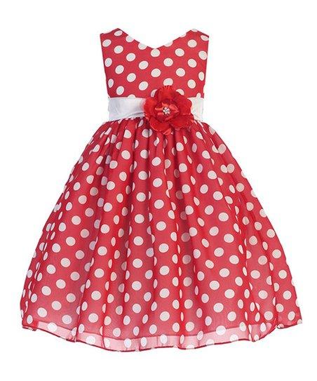 98e3bb69e7194 Ellie Kids Red Polka Dot Chiffon A-Line Dress - Toddler & Girls | Zulily