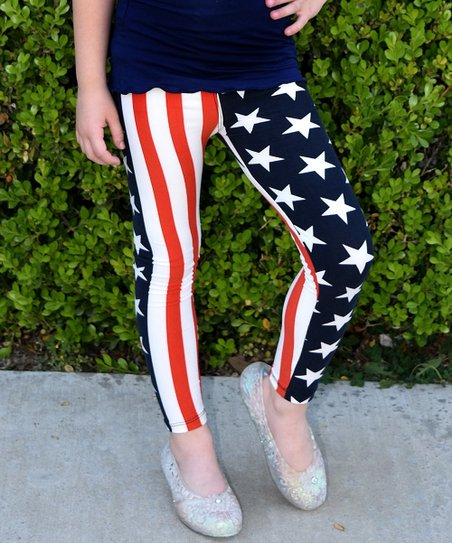 ab2506539 love this product Navy & Red American Flag Leggings - Toddler & Girls