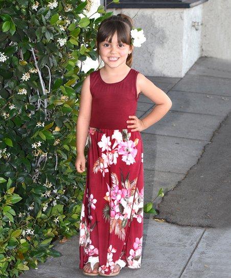 9ef93c8bc2d2 CopyCat Couture Burgundy Floral Maxi Dress - Toddler & Girls | Zulily