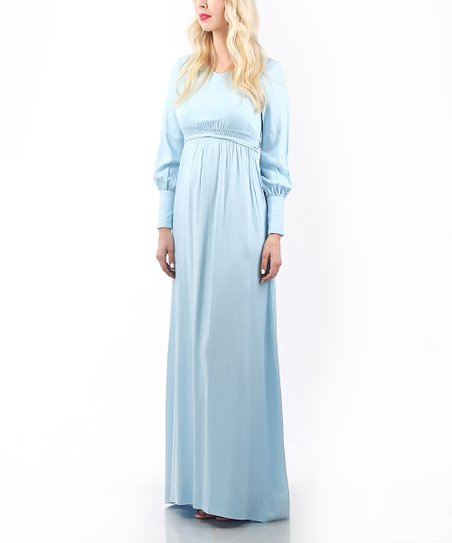 4cc605586cadc love this product Madeleine Baby Blue Linen-Blend London Maternity Maxi  Dress